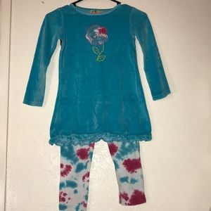 Girls Flapdoodles leggings and top set Size 7 lot